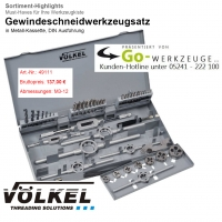 VÖLKEL Gewindeschneidwerkzeugsatz, M3-M12, Metallkassette, 49111